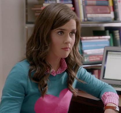 Betsey's heart pullover on The Mindy Project