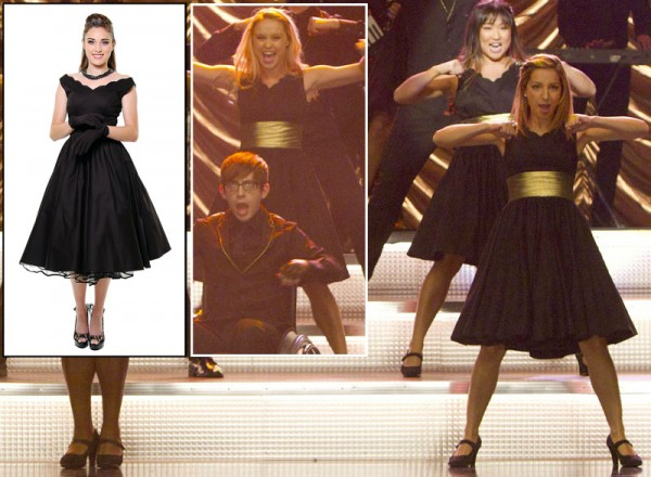 Black scalloped dress on Glee season 4