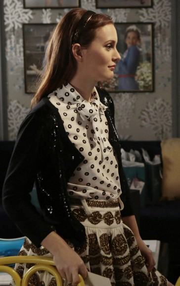 Blair's white glittery polka dot top on Gossip Girl