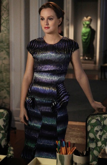 Blair Waldorf's black purple and green stripe print dress on Gossip Girl season 6