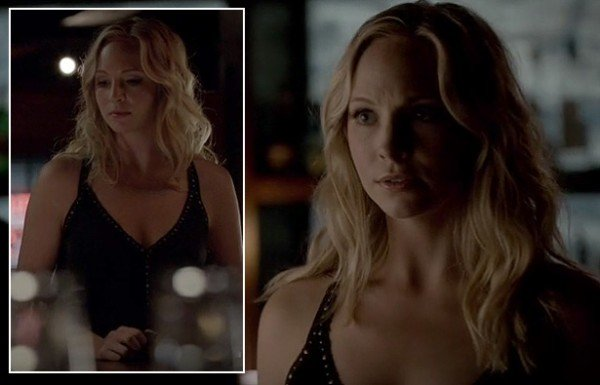 Caroline's black studded vneck cami on The Vampire Diaries