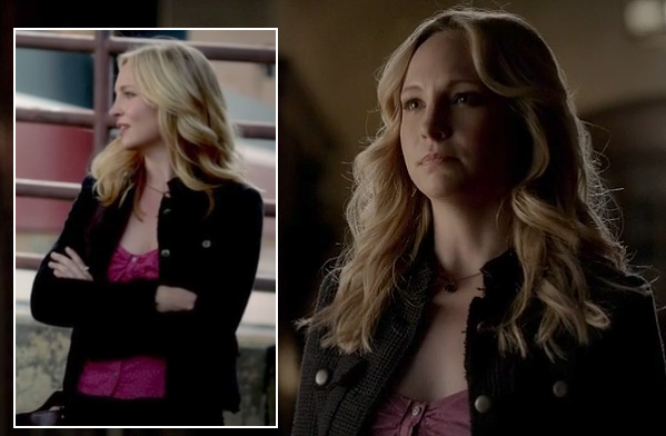 Caroline's black tweed jacket over a pink top on Vampire Diaries