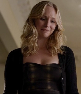 Caroline's printed bustier dress at the funeral on  Vampire Diaries