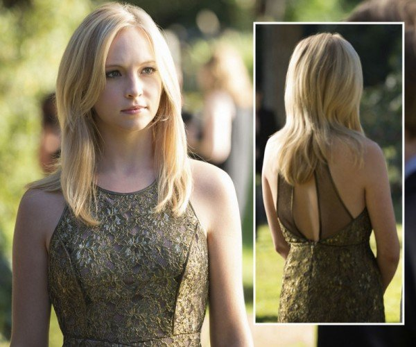 Caroline's gold lace dress on The Vampire Diaries