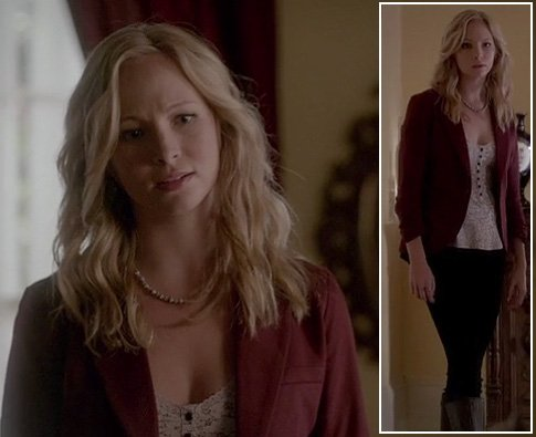 Caroline's floral henley top and red blazer on The Vampire Diaries