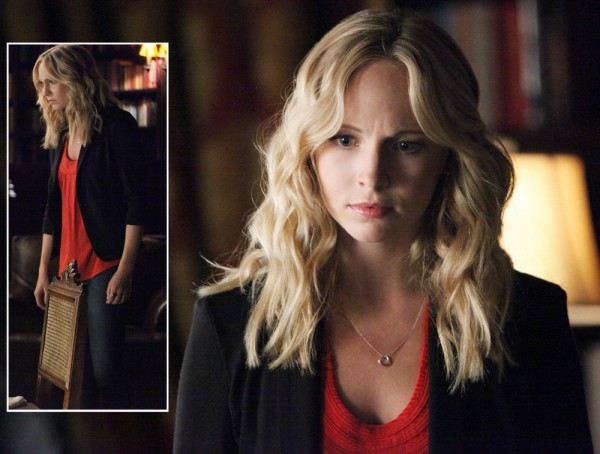 Caroline's silver heart necklace on Vampire Diaries