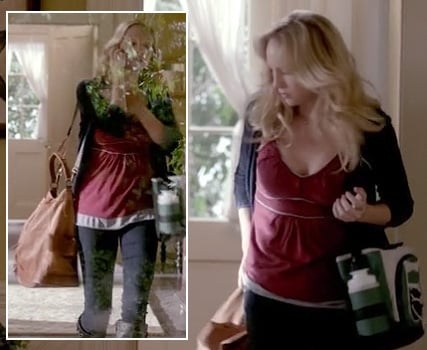 Caroline's red top with white piping and oversized tan bag on The Vampire Diaries