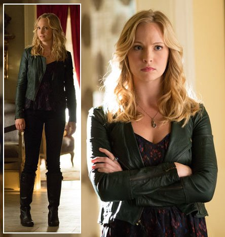 Caroline's black leather jacket and boots on The Vampire Diaries