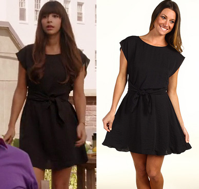 Cece's black dress with tie on Thanksgiving episode of New girl