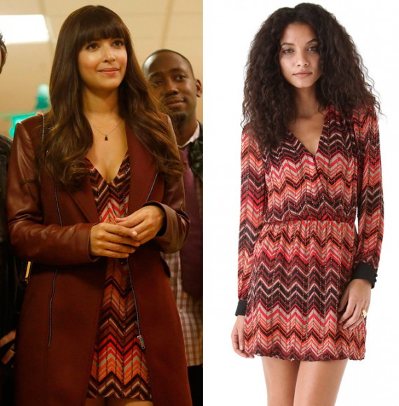 Cece's orange and red zig zag print dress on New Girl