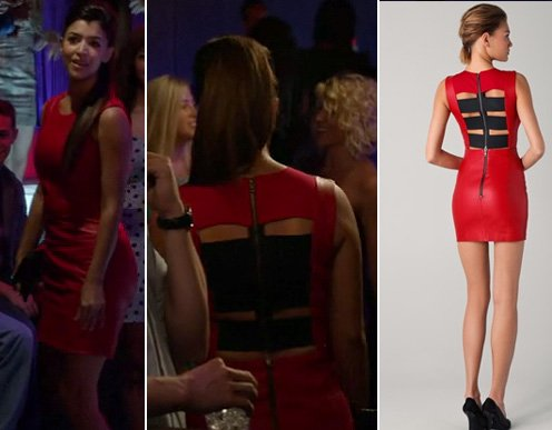 Cece's red leather dress with black back straps on New Girl