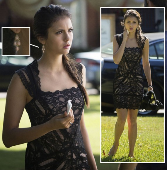 Elena's black lace dress and earrings on The Vampire Diaries