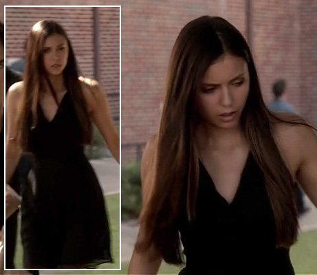 Elena's black dress at the funeral on The Vampire Diaries