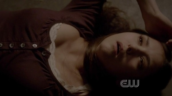 Elena's burgundy/red henley shirt on Vampire Diaries season 4