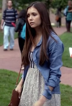 Elena's white lace dress with chambray shirt on Vampire Diaries