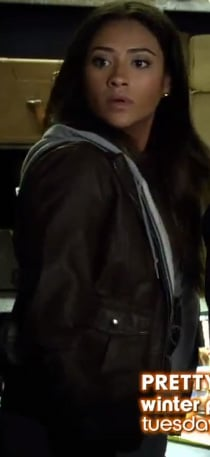 Emily's brown and grey leather hoodie on Pretty Little Liars
