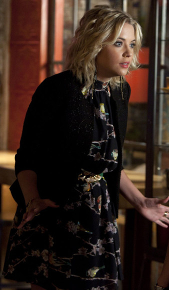 Ashley Bensons black halterneck bird dress on PLL