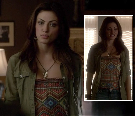 Hayley's printed top with khaki shirt and denim shorts on The Vampire Diaries
