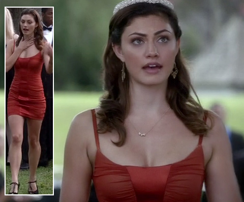 Hayley's red mini dress on The Vampire Diaries