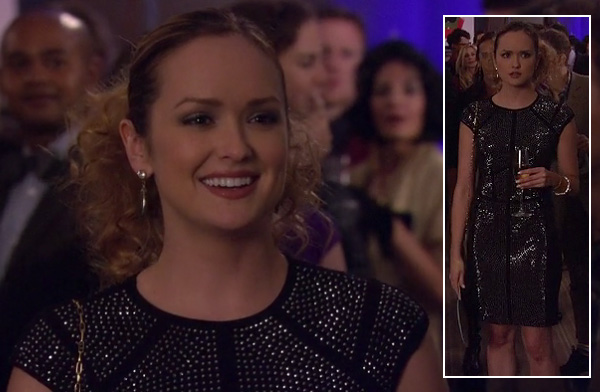 Blair's black and purple printed peplum top and matching skirt on Gossip Girl