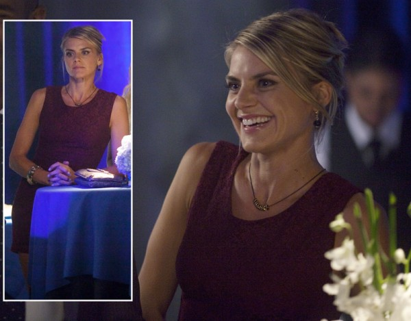 Eliza Coupe's burgundy red dress on Happy Endings