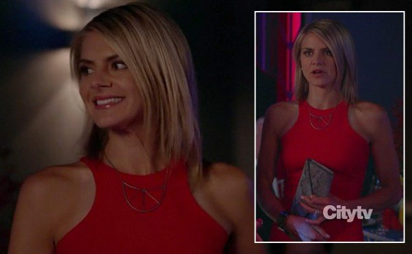 Jane's red halter style dress and snakeskin clutch on Happy Endings