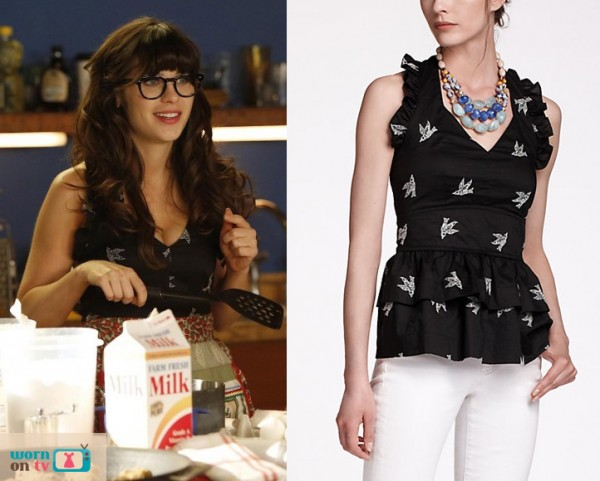 Jess Day's black halter top on New Girl
