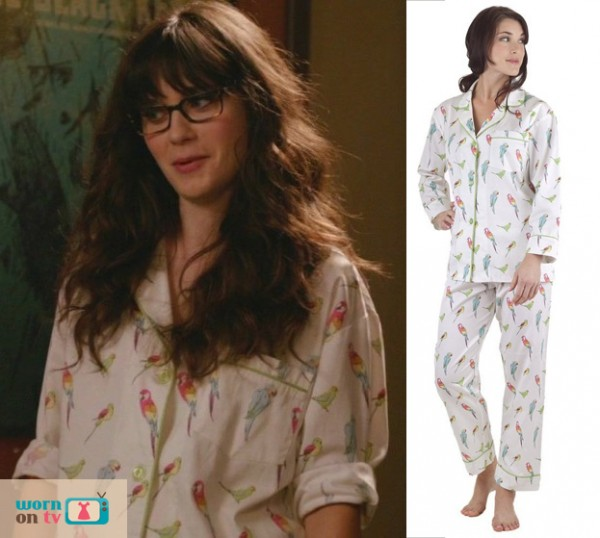 Jess Day's white bird pjs on New Girl