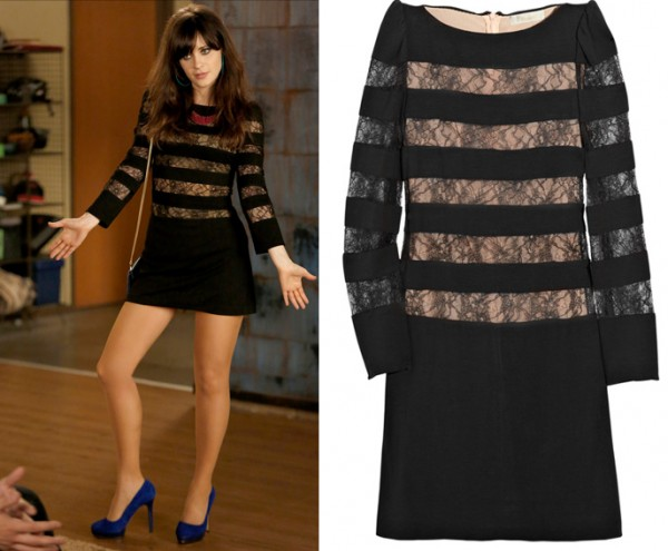 Jess's black mini dress with lace inserts on New Girl