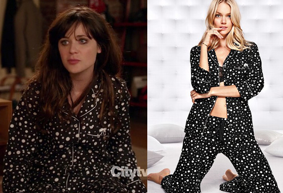 Jess's black and white spotty pjs on New Girl