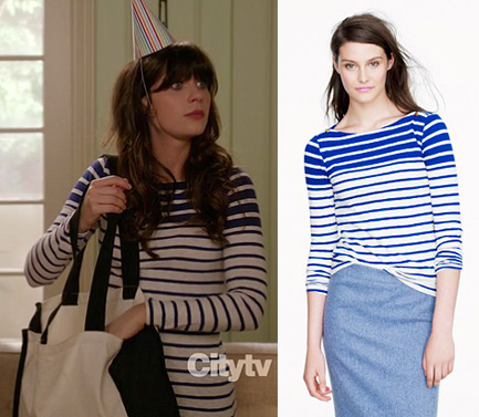 Jess's white and blue striped longsleeved shirt on New Girl