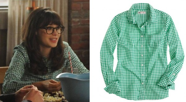 Jess's green checked top on New Girl