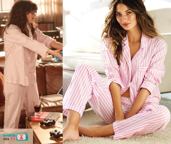 Jess's pink stripey pjs on New Girl