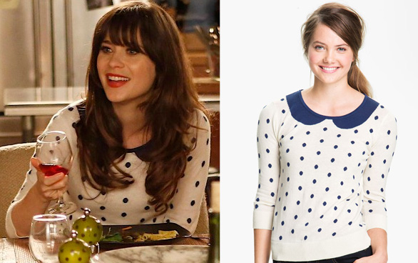 Jess's white polka dot sweater with collar on New Girl
