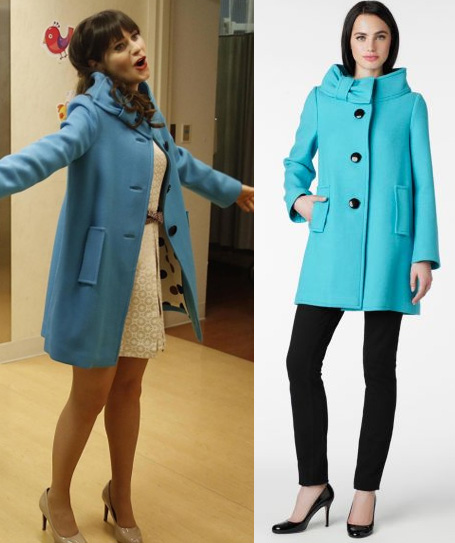 Jess's blue coat with bow neck on New Girl
