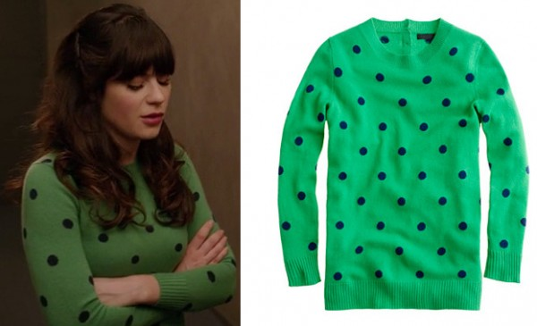 Jess's green sweater with navy blue polka dots on New Girl