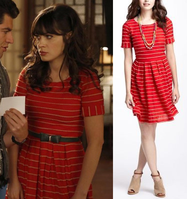 Jess's red dress with cream stripes on New Girl