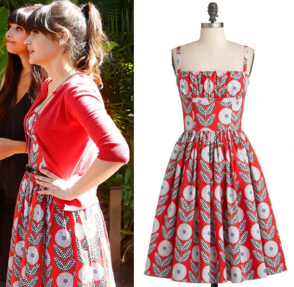 Jess's red dress with white and black print on New Girl