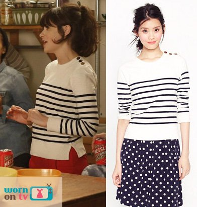 Jess's white pullover with navy stripes on New Girl