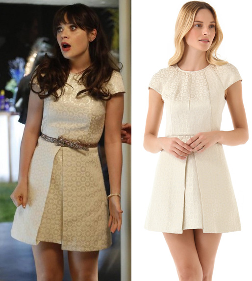 Jess's white dress and glittery bow belt on New Girl
