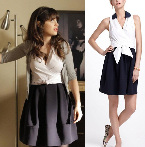 Jess's dress with white wrap top and navy pleated skirt on New Girl