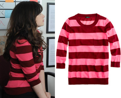 Jess's pink and red stripe sweater on New Girl