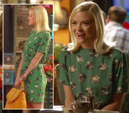 Lemon's green printed dress and yellow purse on Hart of Dixie