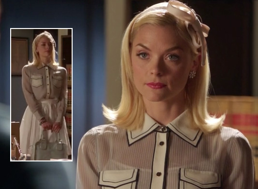 Lemon's contrast collar and pocket shirt with stripes on Hart of Dixie