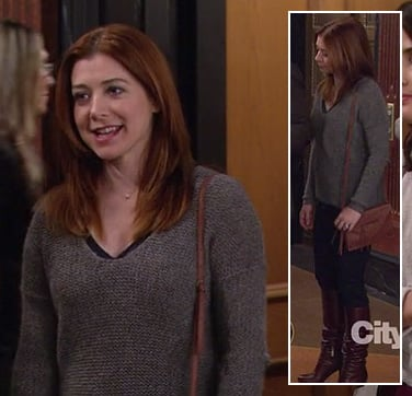 Lily's grey sweater and brown purse on How I Met Your Mother