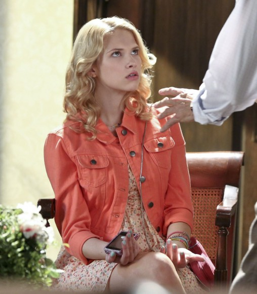 Magnolia's orange denim jacket on Hart of Dixie