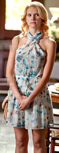Magnolia's white printed dress on Hart of Dixie season 2