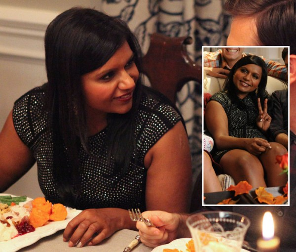 Mindy Kaling's black and silver stud dress on Mindy Project