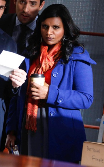 Mindy Kaling's cobalt blue coat on The Mindy Project