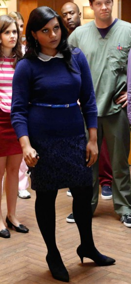 Mindy Kaling's blue sweater and skirt outfit on The Mindy Project